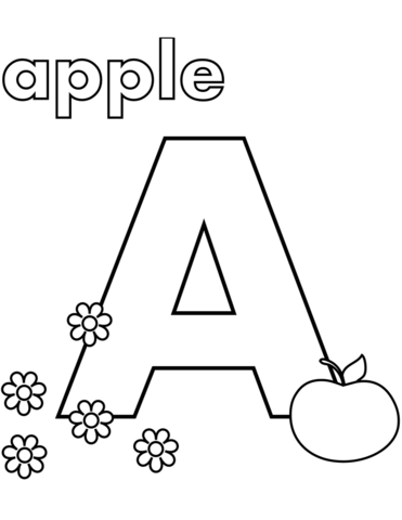 a is for apple coloring page free printable coloring pages
