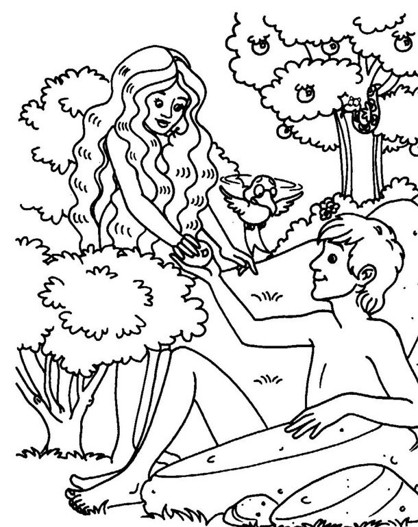adam and eve under the apple coloring page