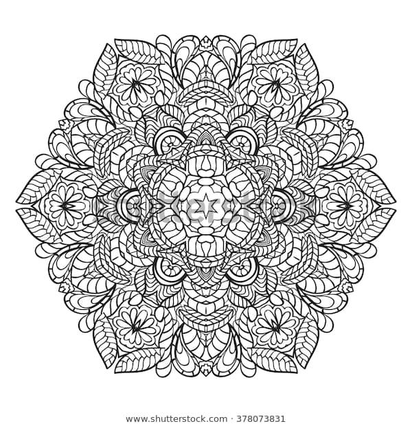 adult coloring page mandala vector art stock vektorgrafik