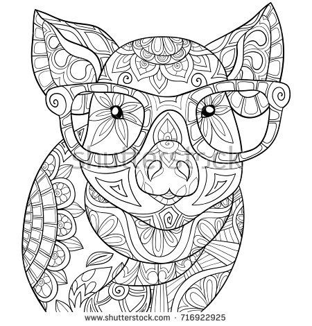adult coloring pagebook a pigzen style art illustration