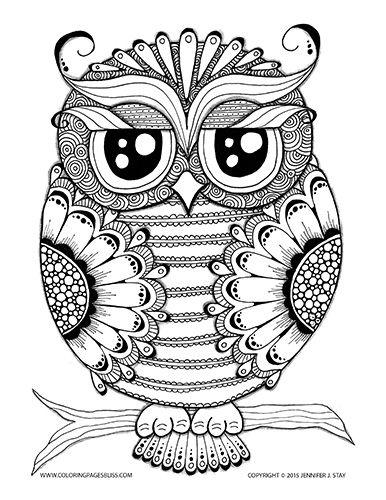 adult coloring pages ausmalbilder eulen malvorlagen und
