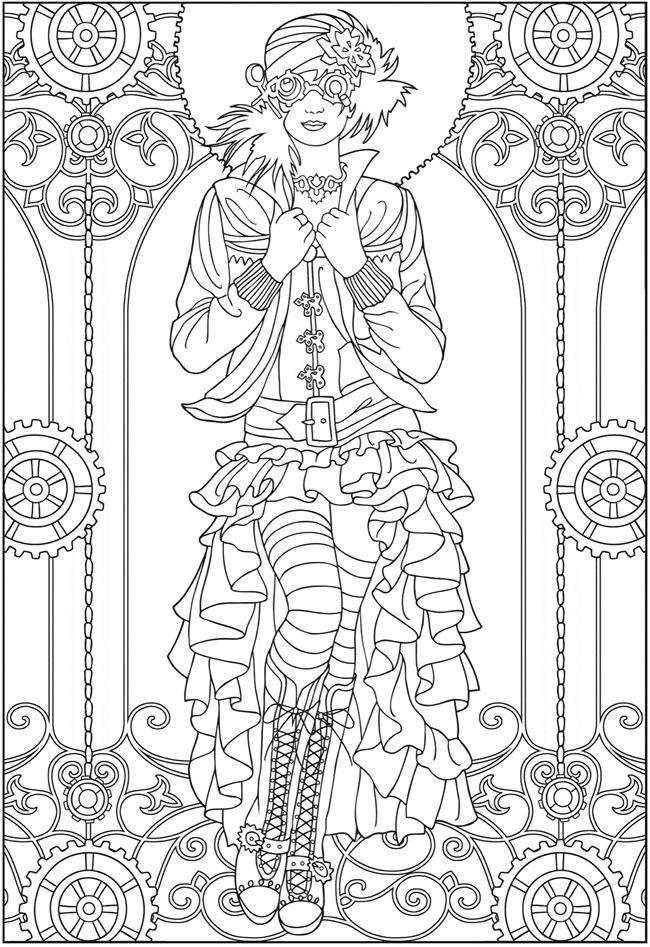adult coloring pages creative haven steampunk fashions