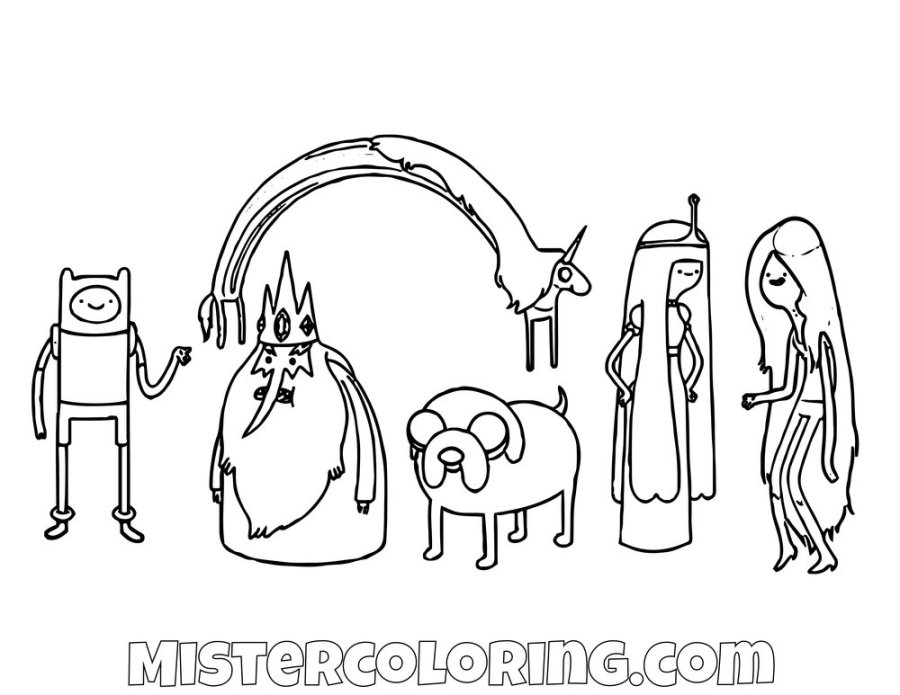 adventure time coloring pages for kids mister coloring