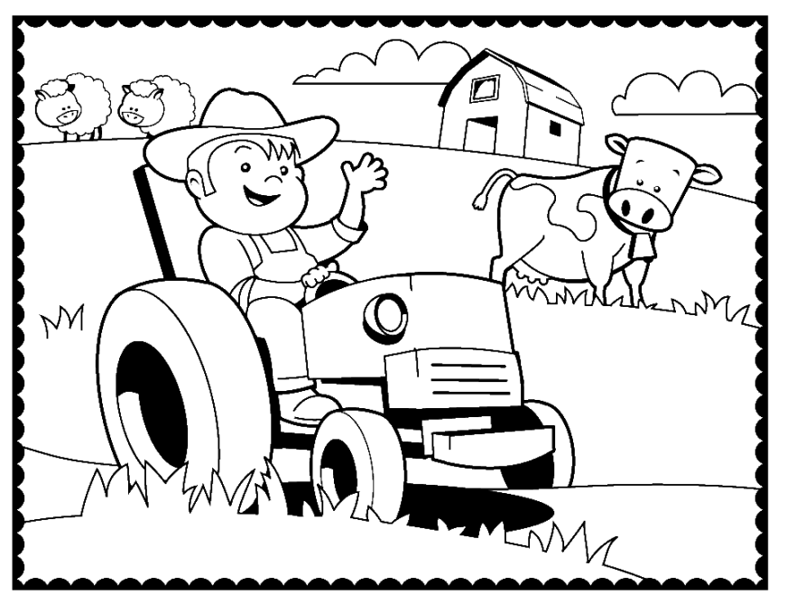 agriculture machinery and farmer coloring page coloring