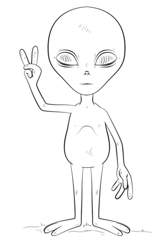alien with peace sign coloring page free printable