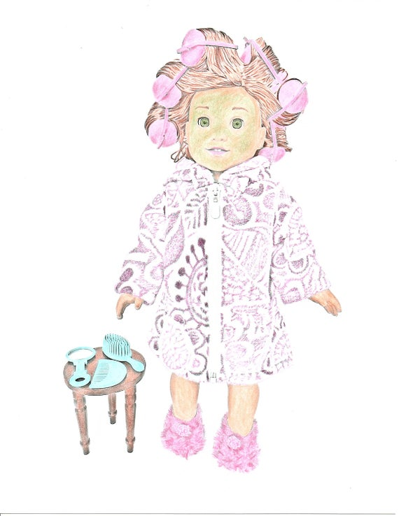 american girl doll coloring page greyscale art coloring sheet 1 jpeg digital download to print and color