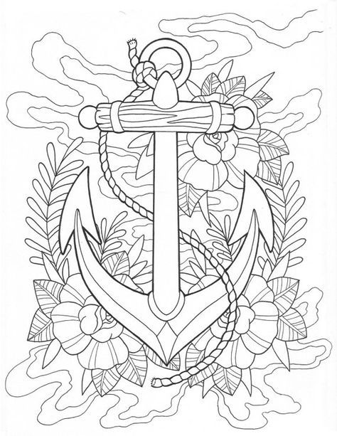 anchor tattoo coloring page digital download ink