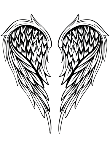 angel wings tattoo coloring page free printable coloring pages