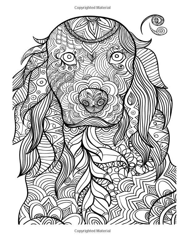 animal patterns coloring book for adults dog coloring page