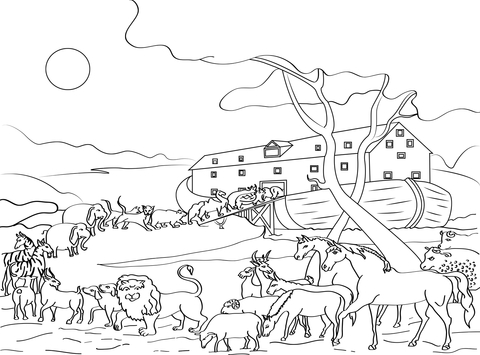 animals loading noahs ark coloring page free printable