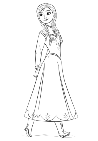 anna from the frozen movie coloring page free printable