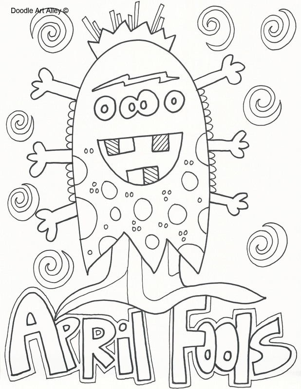 april fools day coloring pages doodle art alley