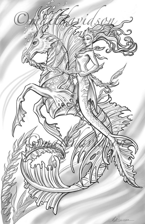 aquilla and her steed morceffyl seahorse and mermaid coloring pages adult coloring fantasy coloring printable digital download