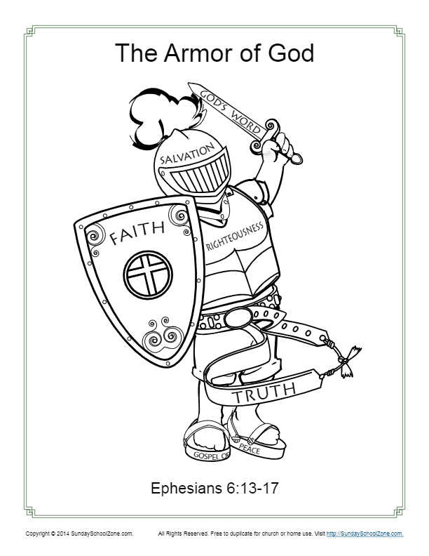 armor of god for kids coloring page activity