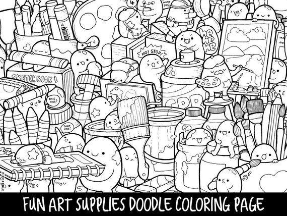 art supplies doodle coloring page printable cutekawaii