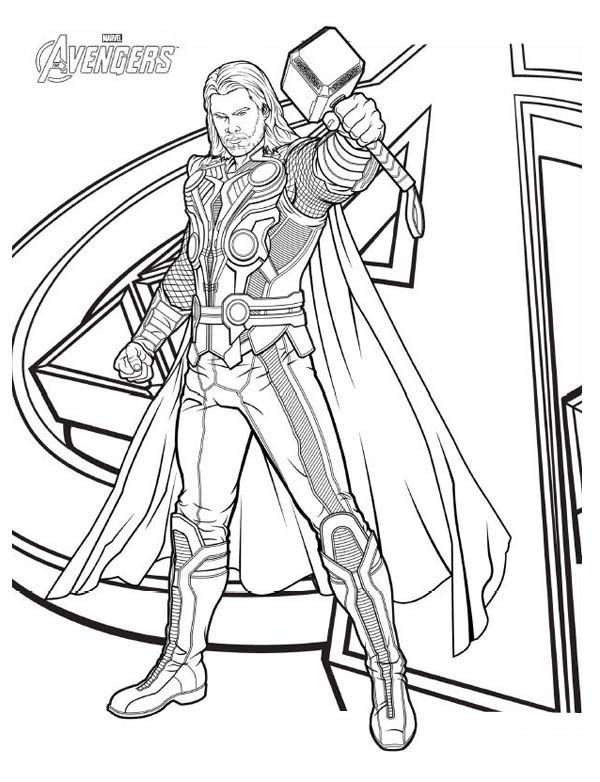 avengers character thor coloring page download print