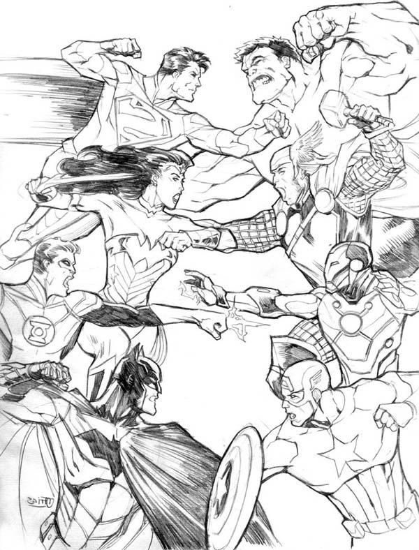 avengers vs justice league in justice league coloring pages