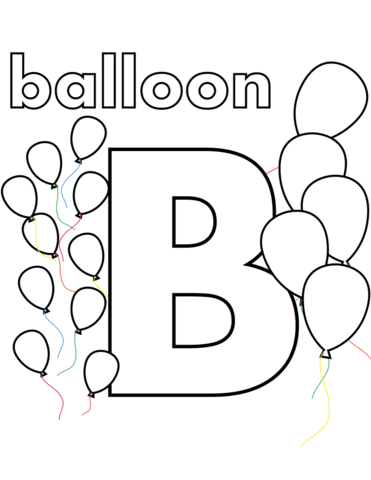 b is for balloon coloring page free printable coloring pages