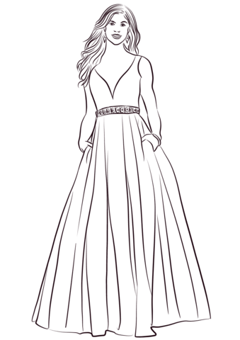 ball gown coloring page free printable coloring pages