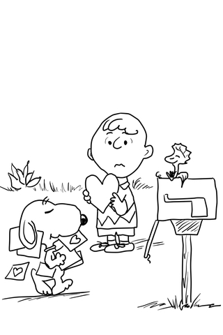 be my valentine charlie brown coloring page free printable