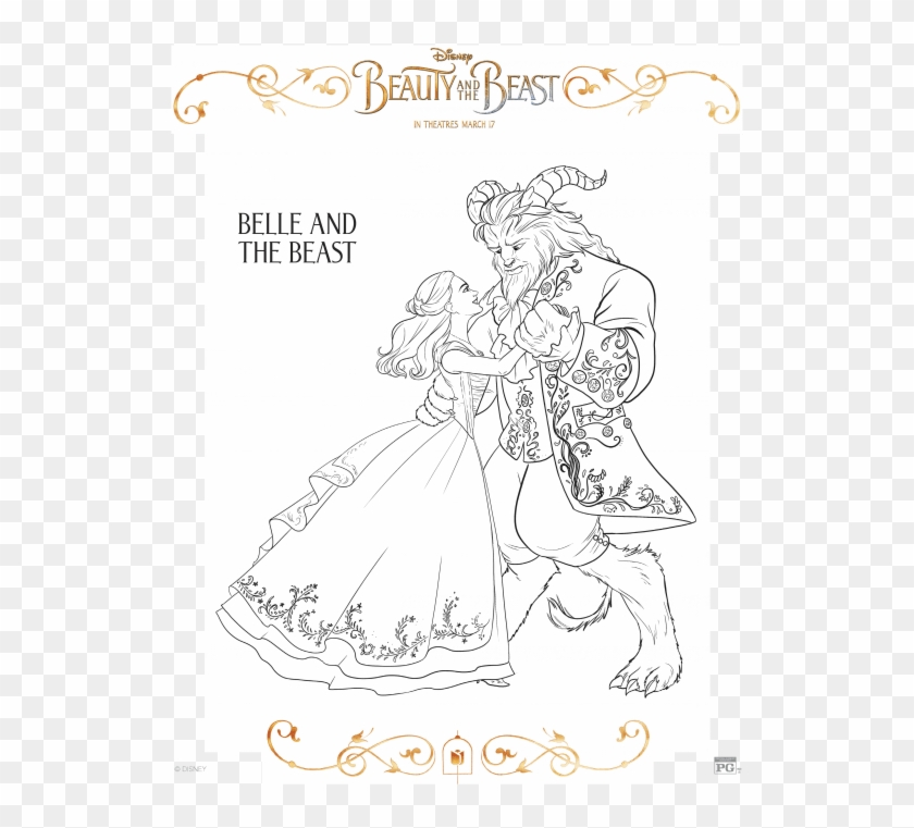 beauty and the beast coloring page beauty and the beast