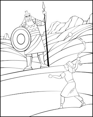 bible coloring page for sunday school david and goliath