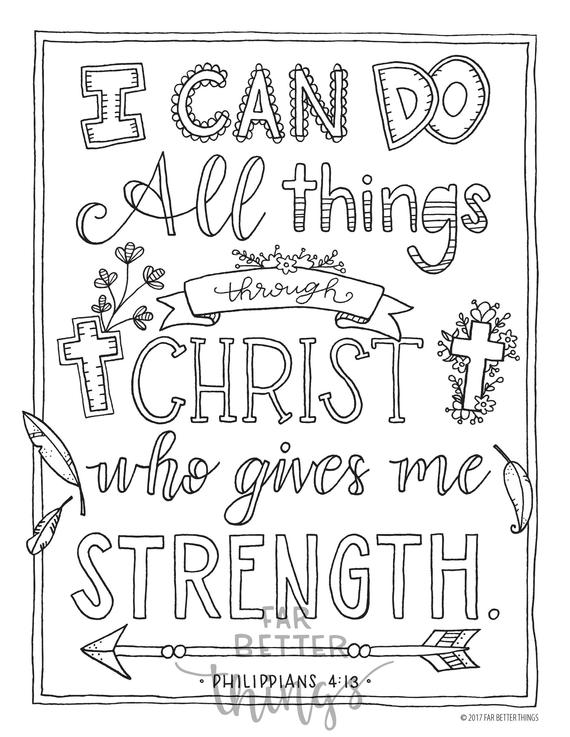 bible verse coloring page philippians 413 printable coloring page bible coloring pages christian kids activity christian coloring