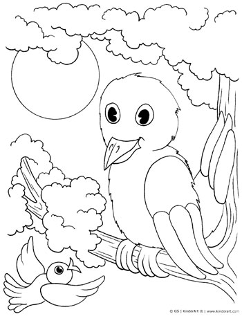 birds coloring page kinderart