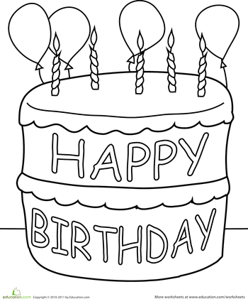 birthday cake coloring page birthday coloring pages happy