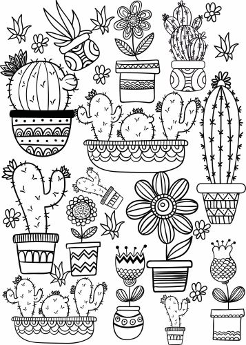 cactus and succulent printable adult coloring pages free