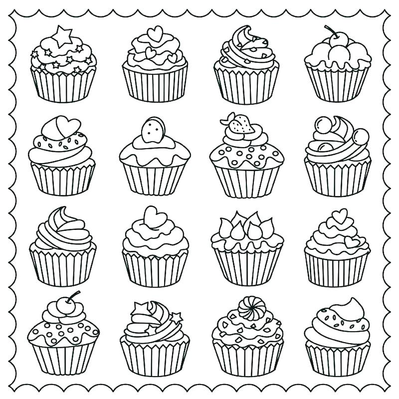 cake and cupcake coloring pages