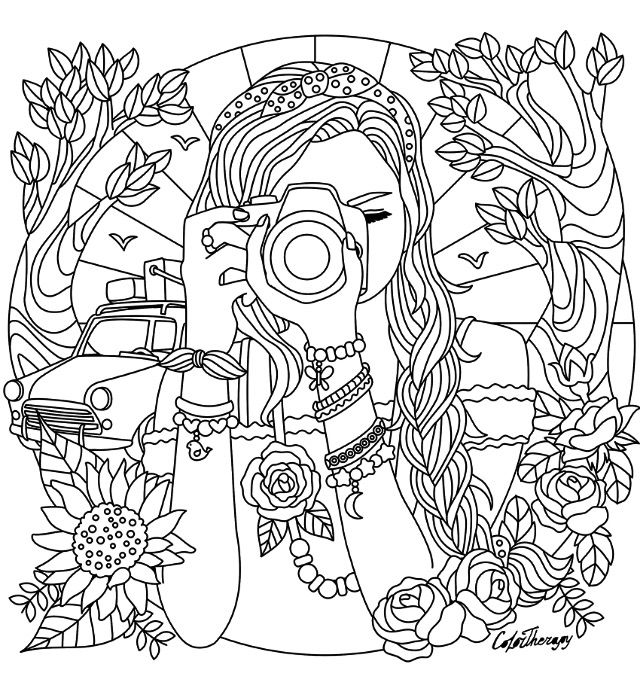 camera coloring pages girl with a camera coloring page