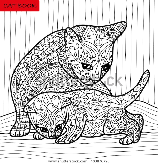 cat mother her kitten coloring book stock vektorgrafik