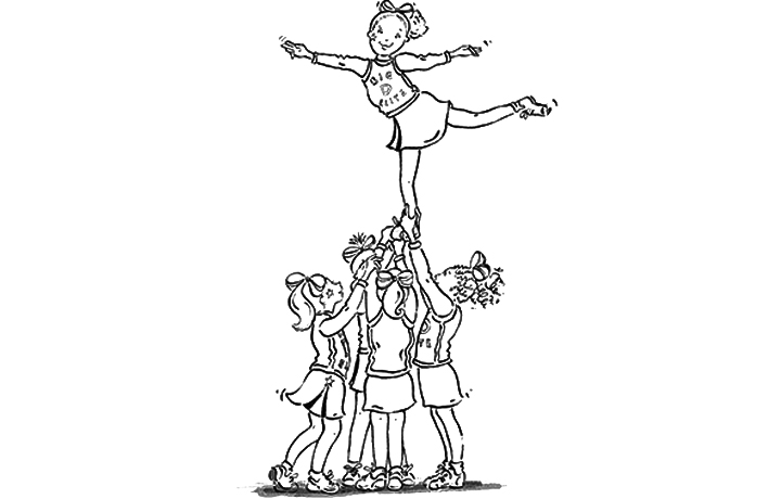 cheerleading stunt coloring pages free download clip art