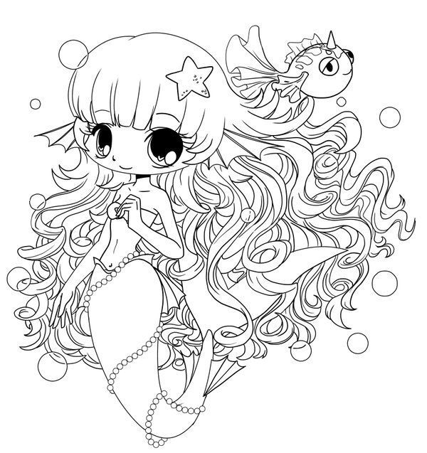 chibi coloring pages chibi mermaid colouring pages