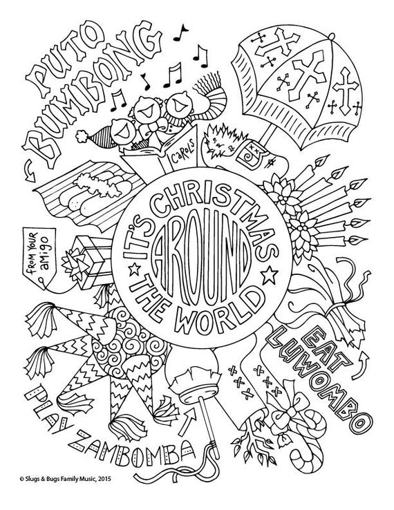 christmas around the world coloring page kids holiday slugs and bugs printable download pdf