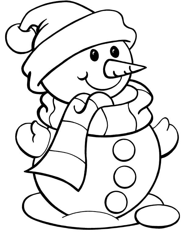 christmas color page snowman snowman wearing hat christmas