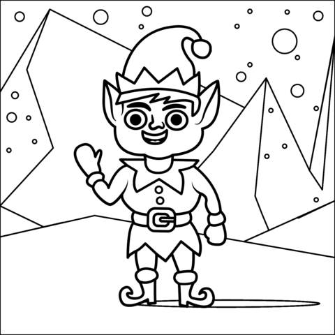 christmas elf coloring page free printable coloring pages