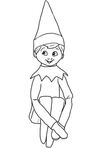 christmas elf on shelf coloring page from elf on the shelf