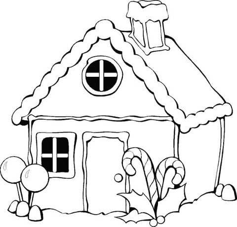 christmas gingerbread house coloring page free printable