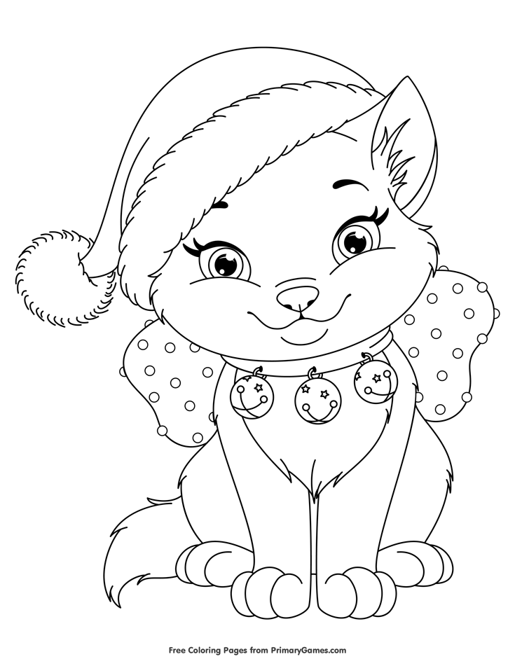 christmas kitten coloring page free printable ebook