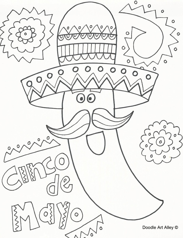 cinco de mayo coloring pages doodle art alley