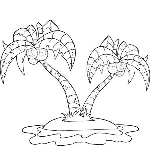 coconut palm trees on island coloring page free printable