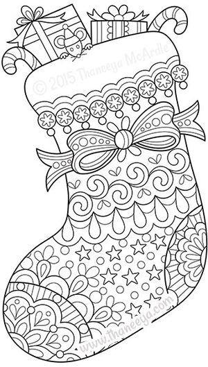 color christmas stocking coloring page thaneeya