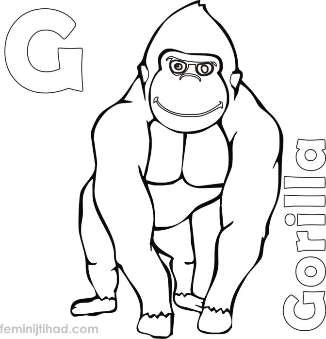 color pages cartoon gorilla coloring page stock