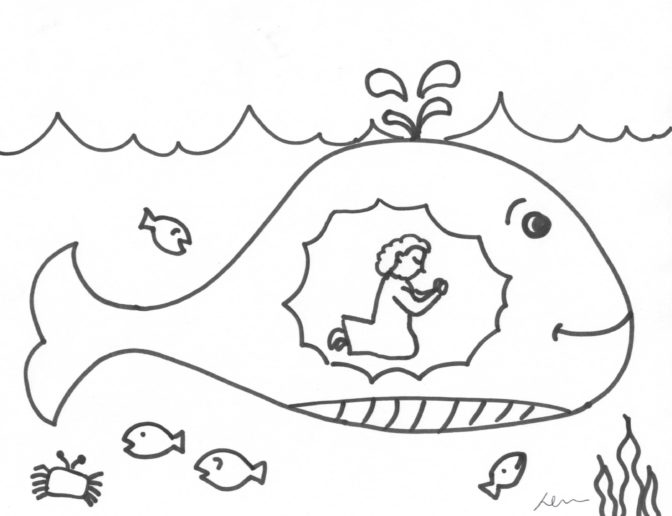 coloring book awesome jonah and the whale coloring page