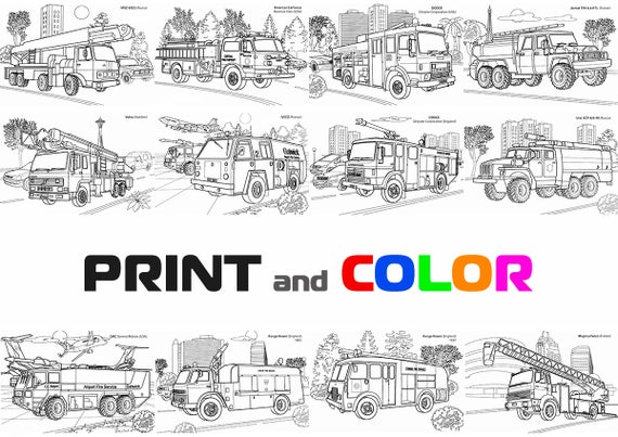coloring firetrucks coloring book truck coloring pages firetruck color fire engine print fire truck print transportation art boys coloring