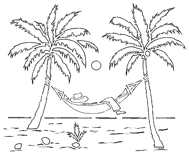 coloring page beach palm trees 2