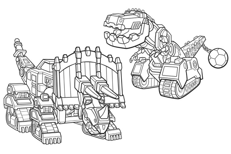 coloring page dinotrux dozer and ty 2