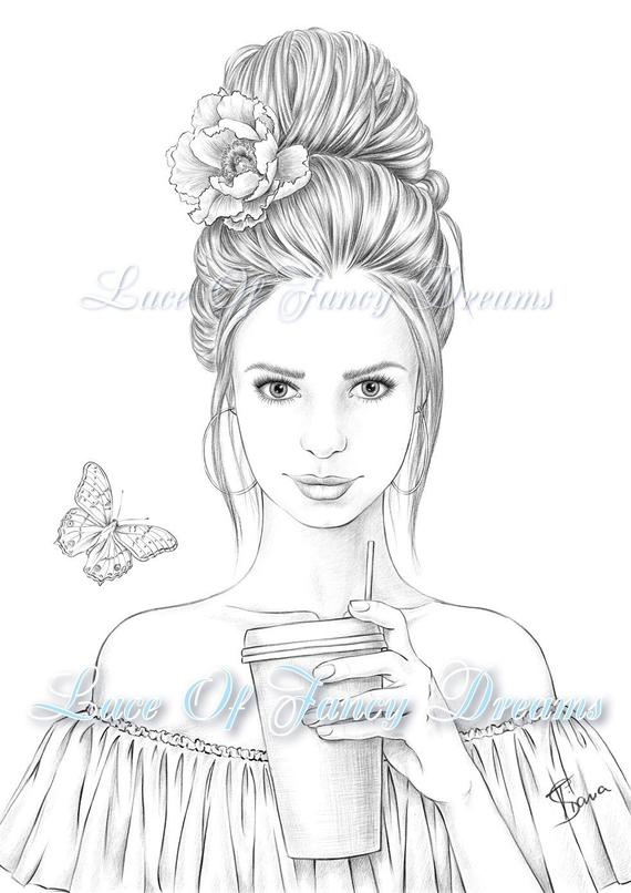 coloring page for adult beautiful woman coloring sheet to